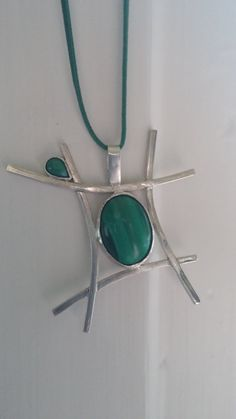 Silver pendant with malachites by aKatArt on Etsy