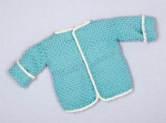 Loom Woven Baby Sweater With Loom Knit Trim - I only pin this because the instructions can be used with any small peg type loom and it would be a good item to sample weaving with