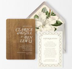 Wood Wedding Invitation White Flowers by oakandorchid on Etsy, $15.00