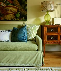 A New Photo for My Portfolio | Living Room Decor | Laurel Home Blog | interior design and photo by Laurel Bern | Benjamin Moore Hawthorne yellow HC-4 walls | Sofa by Lee Industries | Jamie Young lamp | teal damask fabric by Laura Kirar for Duralee