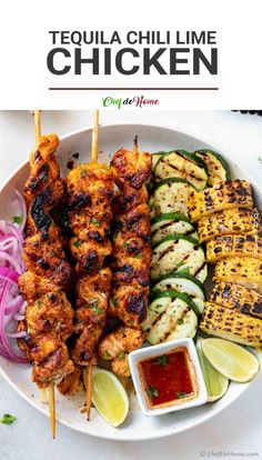 Tequila Lime Chicken Recipe, Lime Marinade For Chicken, Mexican Chicken Recipes, Marinated Chicken, Kebab Recipes, Healthy Recipes, Chile Lime Chicken, Salsa, Chicken Skewers