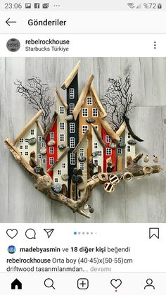 Driftwood Wall Art, Driftwood Projects, Wooden Projects, Art Projects, Nature Crafts, Decor Crafts, Diy And Crafts, Arts And Crafts, Pottery Houses