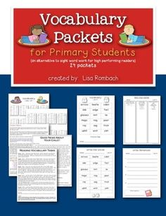 Vocabulary Packets for Primary Students - an alternative to sight word work for high performing readers in the primary grades.  24 packets.  Download the free preview to see all 24 lists.  Great for differentiation! $