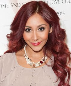 """Nicole """"Snooki"""" Polizzi Hairstyle - Long Wavy Formal - Medium Red. Click on the image to try on this hairstyle and view styling steps!"""