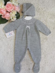 PELELE GRIS CON LAZO   Pardalets - Ropa para tu bebe