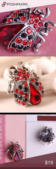 Silver Plated Crystal Red Ladybug 🐞 Brooch Silver Plated Crystal Red Ladybug 🐞 Brooch. Quantity: 1Pc Color as shown Size: 2.6 * 2.3cm Material: Alloy + Rhinestone Jewelry Brooches