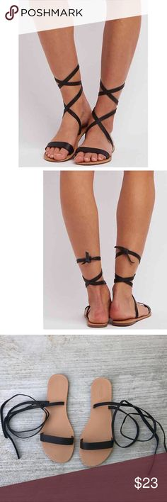 Black Ankle wrap SANDALS lace up gladiator BOHO 9 Coolest! Black Ankle wrap SANDALS - long lace up straps that allow you tie them in various ways. gladiator style or simple ankle wrap, have fun pairing them up with your favorite BOHO ensembles or beach rompers. Maxis, shorts, capris, jumpers...! Sz 9 (818) Charlotte Russe Shoes Sandals