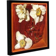 ArtWall Paige Wallis Creamy Trumpets Of Spring Gallery-wrapped Floater-framed Canvas, Size: 36 x 36, White