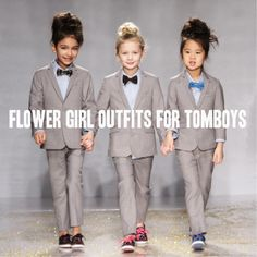 Tomboy Flower Girl Outfits | A Practical Wedding OMG THESE ARE SO CUTE! Perfect for the flower girl who's not so flowery. (let's be real, putting a toddler in a white dress is kinda stupid anyway. why are they dressed as mini-brides?! )