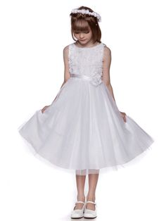 White Tulle  Flower Girl Dress with Rosette Accented Bodice