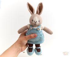 Amigurumi teddy bear toy Lisa a knitted stuffed plush bunny animal with clothes Little Cotton Rabbits, Teddy Bear Toys, Bunny Plush, Bear Doll, Plush Animals, Polar Bear, Cartoon Characters, Boy Or Girl, Dolls