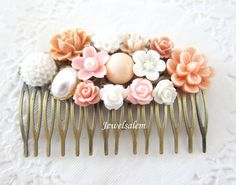 Wedding Hair Comb Pink Coral Comb for Bride White by Jewelsalem