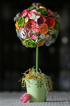 Spring Paper Flower Topiary Craft