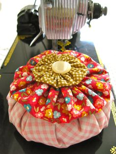 Calico Quilter Sewer YoYo Pincushion by TheBeehiveCottage on Etsy