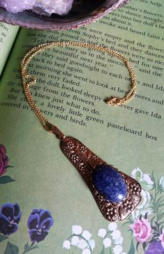 Blue Lapis Stone Necklace set in gold plated brass by WildFernArt