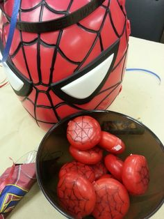 Baby bell cheese and a Sharpie great table snack for a #spiderman party! Don't forget red and blue personalized napkins! www.napkinpersonalized.com