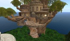 Tree house : Elimourn Lofted Treehouse Elven elf fae fairy homes