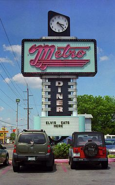 """Route 66 - Metro Diner in Tulsa, Oklahoma on old Rt. 66. A diner, Elvis and Rt. 66 - a huge dose of 1950's Americana. """"The Fine Art Photography of Frank Romeo."""""""