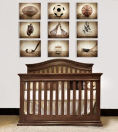 "big boy room idea - vintage ""rustic"" sports decor"