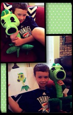 This boy's pea-shooter plant drawing came to life with budsies.com! #Budsies #Budsie #Buddy #Gifts #Cute #Art #Crafts #Design #Toys #Design #BestGiftEver #Creative #Custom #StuffedAnimals #Children #Artwork #Kids #Imagination #Happy #Green