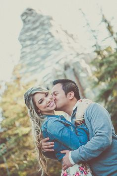 Sweet kisses at a Disneyland engagement session