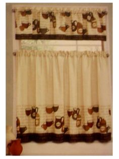 Merveilleux Coffee Cup Kitchen Curtains Tiers Valance Complete Set This 3 Piece Kitchen  Curtains Set Features Coffee