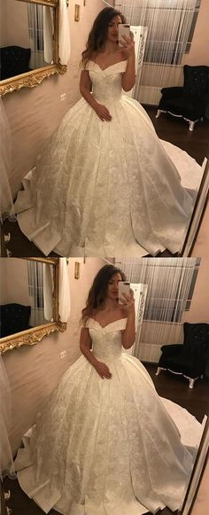 Satin Wedding Dresses 2018 Ivory Lace V-neck Satin Wedding Dresses Ball V Neck Wedding Dress, Applique Wedding Dress, Applique Dress, Perfect Wedding Dress, Cheap Wedding Dress, Wedding Dress Styles, Wedding Gowns, Ball Dresses, Bridal Dresses