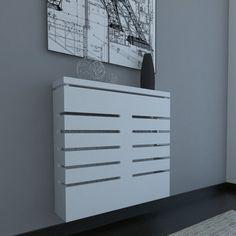 Cubreradiador moderno suspendido en lacado blanco Modern Radiator Cover, Home Radiators, Diy Holz, Small Apartments, Living Room Decor, Sweet Home, Radiator Ideas, Console, Home Decor