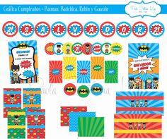 #Gráfica #Cumpleaños #Batman #Robin #Batichica #Guasón realizada para #CompañíadeFiestas