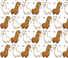 Llama Love fabric by sp4klefish on Spoonflower - custom fabric
