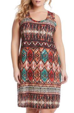 Karen Kane Border Print Jersey A-Line Dress (Plus Size) available at #Nordstrom