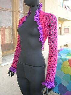 Pink Crochet Shrug With Violet Lace