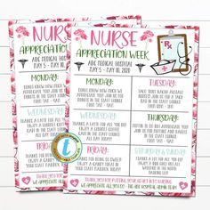 Nurse Appreciation Week Itinerary Schedule of Events Flyer. Use this flyer for any Hospital Nursing Staff Appreciation Week to alert everyone of the events scheduled. A great flyer template for hospitals, medical companies, and more - all text is editable so make it read what you wish! _________________________________ Nurse Appreciation Week, Grateful For You, Event Flyers, Does It Work, Flyer Template, Trees To Plant, Schedule, Health Care, Medical