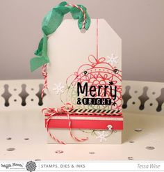 Merry and Bright Christmas Tag (Crafty Girl Designs) 25 Days Of Christmas, Christmas Tag, Teresa Collins, Merry And Bright, Paper Crafts, Gift Wrapping, Place Card Holders, Scrapbook, Crafty