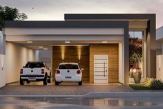 Trendy Exterior House Design Modern One Floor Small Modern House Plans, Modern Small House Design, Single Floor House Design, House Front Design, House Stairs, Facade House, Home Building Design, Building A House, House Construction Plan