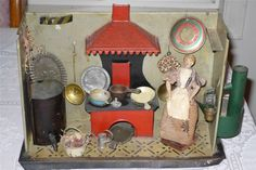 Antique Toy 19th Century American Tin Kitchen Stove DollHouse Flora Jacob Gill?