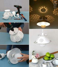 light made with an old colander. DIY light for a kitchen.