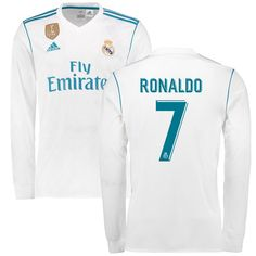 Ronaldo Real Madrid adidas 2017/18 Home Replica Patch Long Sleeve Jersey - White