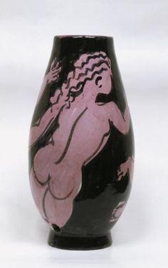 Raoul Dufy-Llorens Artigas_Vase with fuchsia women bathers on black base