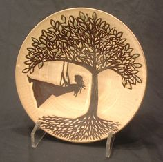 Woman on Swing tree of life stoneware plate platter ceramic pottery by GBG.