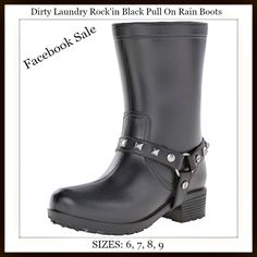 """FABULOUS FRIDAY'S FACEBOOK SALE @ COWGIRLS UNTAMED Dirty Laundry Black Rockin' Studded Rubber Rain Boots  1"""" platform & 1 1/2"""" heel height / 9"""" shaft height & 13"""" shaft width SIZES 6, 7,8,9 ONLY $44.99 and $8 USA SHIPPING!! (retail $59.99 plus shipping) Post your size and email, and we'll email you a secure invoice to pay from. Debit or credit cards, or Paypal accepted. COWGIRLS UNTAMED ~ Fashion For Your Cowgirl Gypsy Rebel Soul www.cowgirlsuntamed.com #boutique #fashion #dirtylaundry…"""