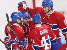 Montreal Canadiens centre David Desharnais celebrates with teammates Andrew Shaw Paul Byron and Jeff Petry during third period NHL action in Montreal on Tuesday October Montreal Canadiens, Andrew Shaw, Hockey Teams, Pittsburgh Penguins, Nhl, Tuesday, Period, Third, Sports