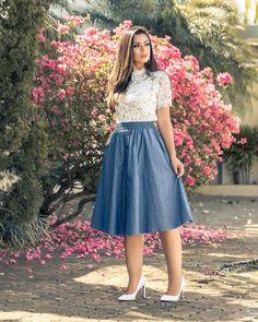 Buy online modest dresses for women Skirt Outfits Modest, Denim Skirt Outfits, Modest Dresses, Dress Skirt, Dress Outfits, Frock Fashion, Modest Fashion, Skirt Fashion, Fashion Dresses