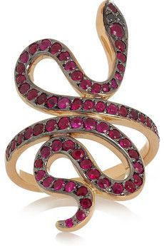 Slither Snake 18-karat rose gold ruby and diamon ring by Ileana Makri