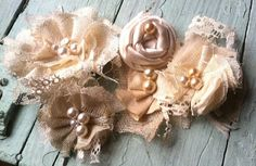 Linen and Lace Fabric Flowers Custom Made by RhysandRaesCreations, $15.00