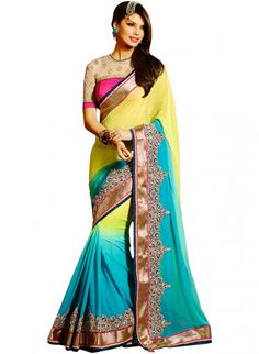 Yellow and Blue Georgette Saree