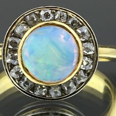 Antique gold ring with genuine opal and old cut diamonds Opal Rings, Gold Rings, Gemstone Rings, Uv Black Light, Business Gifts, White Opal, Antique Items, Flower Pots, Diamond Cuts