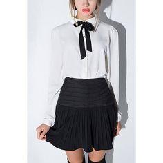 Yoins Yoins Tie Neck Blouse (€21) ❤ liked on Polyvore featuring tops, blouses, shirts & blouses, white, white eyelet shirt, white chiffon shirt, cuff shirts and chiffon shirt