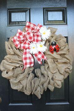 Summer Picnic Burlap wreath. $54.00, via Etsy.