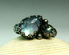 Sterling Silver Moonstone Labradorite Ring, Vintage Inspired, Handmade Custom Jewelry, Double Stone, made to order on Etsy, $72.00